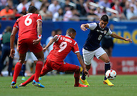 Chicago, IL - Sunday July 28, 2013:  United States midfielder Joe Corona (6) battles with Panama midfielder Gabriel Torres (9) during the CONCACAF Gold Cup Finals soccer match between the USMNT and Panama, at Soldier Field in Chicago, IL.