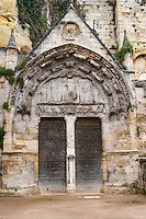 doors and portico eglise monolithe place du marche saint emilion bordeaux france