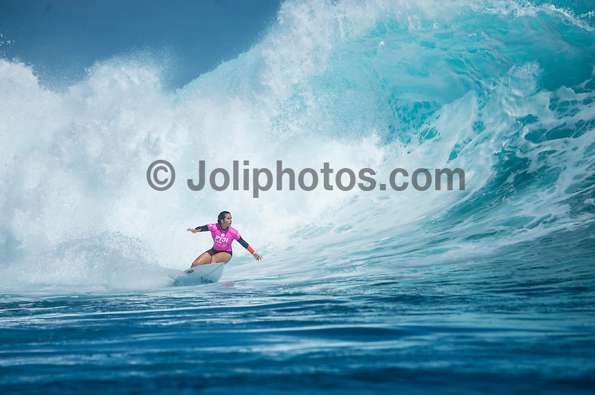 Namotu Island Resort, Namotu, Fiji. (Thursday May 29, 2014) Johanne Defay (FRA) –  The Fiji Women's Pro, Stop No. 5 of 10 on the 2014  Women's World Championship Tour (WCT) was won today by Australian Sally Fitzgibbons who defeated five times World Surfing Champion Stephanie Gilmore (AUS) in the 35 minute final. The last day of the event was held at Cloudbreak in solid 6'-8' surf, possibly the largest surf an Women's World Tour event ah ever been run. The final day saw the remaining heats of Round 4 completed then right through to the final. Photo: joliphotos.com