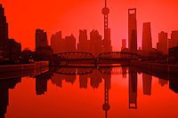 shanghai's pudong financial district at six in the morning
