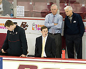 Kevin Pratt (BC - Manager), Brian McCauley (BC - Manager), Jerry York (BC - Head Coach), Tim Taylor - The Boston College Eagles defeated the visiting University of Massachusetts Lowell River Hawks 6-3 on Sunday, October 28, 2012, at Kelley Rink in Conte Forum in Chestnut Hill, Massachusetts.