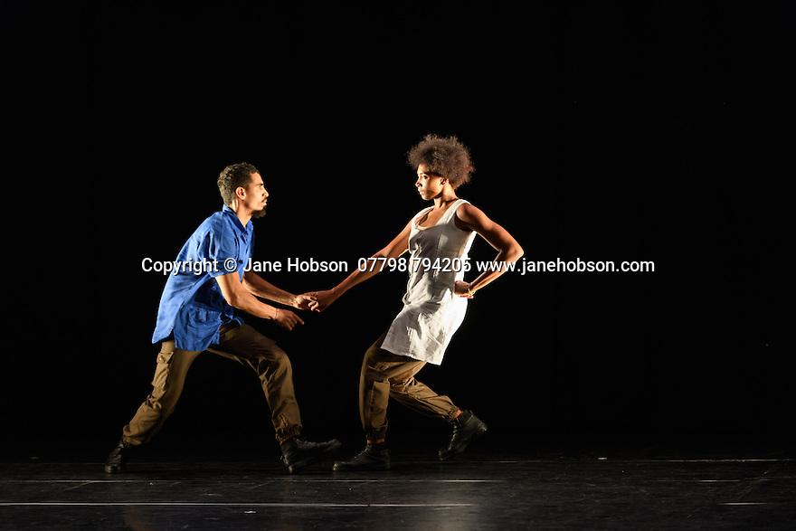 "London, UK. 23.02.2017. Dance Consortium presents Danza Contemporanea de Cuba, in the Barbican Hall, as part of their UK tour 2017. The piece shown, ""Matria Etnocentra"", choreographed by George Céspedes, is the third part of a triple bill, which also includes ""reversible"", choreographed by Annabelle Lopez Ochoa, and ""The Listening Room"", choreographed by Theo Clinkard. The dancers are: Anabel Pomar, Andrés Ascanio, Arelys Hernández, Arlet A. Fernández, Claudia H. Rodríguez, Danny Rodríguez, Dayron Romero, Esven C. González, Heriberto Meneses, Iliana Solís, Iosmaly Ordoñez, Javier A. Aguilera, Jennifer Tejeda, José A. Elias, Laura Ríos, Leyna González, Maikel Pons, Niosbel O. González, Norge Cedeño, Penélope Morejón, Raúl Barrera, Stephanie Hardy, Thais Suárez, Víctor M. Varela. Photograph © Jane Hobson."
