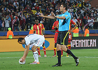 Hungarian referee Viktor Kassai sets the stage for the U.S. penalty kick, which leveled the score in the 62nd minute. Ghana defeated the U.S., 2-1, in extra time to advance to the quarterfinals, Saturday, June 26th, at the 2010 FIFA World Cup in South Africa..