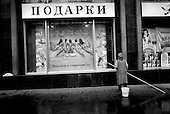 Moscow, Russia .1998.Advertisments on Tverskaya street in central Moscow.