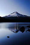 Mt Hood at night with reflection onto Trillium Lake
