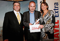 Repro Free from left to right: Eoghan Corry from Travel Extra, Winner of the Sun Holiday Journalist of the Year Sponsored by Falcon Mark Evans from The Evening Herald and Helen Caras from Falcon. Travel Extra,Travel Journalist of the Year Awards at the Thomas Prior House Ballsbridge. The event which was sponsored by The Spanish Tourist board gave out 12 awards for different catagories. This year saw a huge increase in the number of submissions from previous years, displaying the creativity and continuning innovation of travel and tourism journalism in Ireland. Collins Photos 25/1/13
