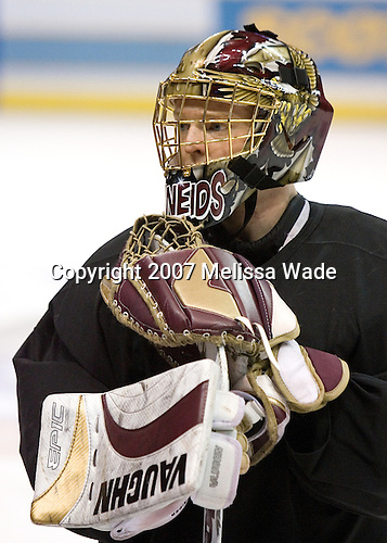 Cory Schneider (Boston College - Marblehead, MA) takes part in the Boston College Eagles' practice on Friday, April 6, 2007, at the Scottrade Center in St. Louis, Missouri in preparation for the 2007 Frozen Four Final on April 7.