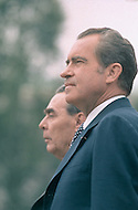 1973, Washington, DC, USA. President Richard Nixon meets General Secretary of the Communist Party of the Soviet Union Leonid Brezhnev - A break in at the Democratic National Committee headquarters at the Watergate complex on June 17, 1972 results in one of the biggest political scandals the US government has ever seen. Effects of the scandal ultimately led to the resignation of President Richard Nixon, on August 9, 1974, the first and only resignation of any U.S. President. Image by © JP Laffont