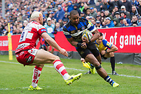 Aled Brew of Bath Rugby takes on the Gloucester Rugby defence. Aviva Premiership match, between Bath Rugby and Gloucester Rugby on April 30, 2017 at the Recreation Ground in Bath, England. Photo by: Patrick Khachfe / Onside Images