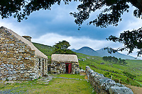 Historic cottage of Dan O'Hara, evicted by the British and forced to emigrate, by Twelve Bens Mountains, Connemara, Ireland