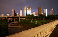 Stock photo of a lightning storm behind the Houston skyline