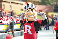 College Park, MD - November 26, 2016: Rutgers Scarlet Knights mascot flex during game between Rutgers and Maryland at  Capital One Field at Maryland Stadium in College Park, MD.  (Photo by Elliott Brown/Media Images International)