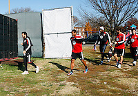 WASHINGTON, DC - NOVEMBER 14, 2012: Dwayne DeRosario (7) of DC United and players enter the practice field during a practice session before the second leg of the Eastern Conference Championship at DC United practice field, in Washington, DC on November 14.