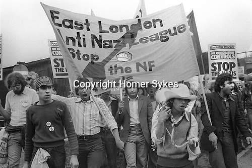 Anti Nazi League march through Tower Hamlets East London UK 1978