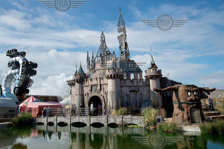 A fairytale castle, created by artists Block9, on show at Dismaland, artist Banksy's play on the ammusement park experience. Work by 50 artists was on display over the summer at Bemusement Park, a derelict lido on the seafront.