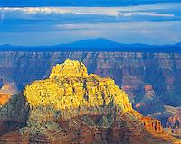 Sunset on the North Rim, Vishnu Temple with San Francisco Peak, Grand Canyon National Park, AZ