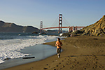 San Francisco: Baker Beach with Golden Gate Bridge in background.  Photo # 2-casanf83495.  Photo copyright Lee Foster
