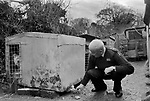 Puppy Farming Wales 1989. Two West Highland Whites - Westie's.<br /> <br /> RSPCA inspector Peter Anderson inspects a dairy farmer that breeds puppies in shocking conditions at Blaenycoed / Blaen-y-coed