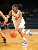 Dec. 18, 2010; Charlottesville, VA, USA;  Virginia Cavaliers guard Ariana Moorer (15) dribbles the ball during the game against the UMBC Retrievers at the John Paul Jones Arena. Virginia won 61-46. Mandatory Credit: Andrew Shurtleff