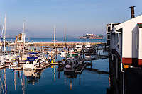 United States, California, San Francisco. Pier 39 is located at the edge of the Fisherman's Wharf district, it is a shopping center and popular tourist attraction.
