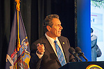 Governor Andrew Cuomo speaks to the audience at the announcement of the new Women's Building in NYC, October 26, 2015