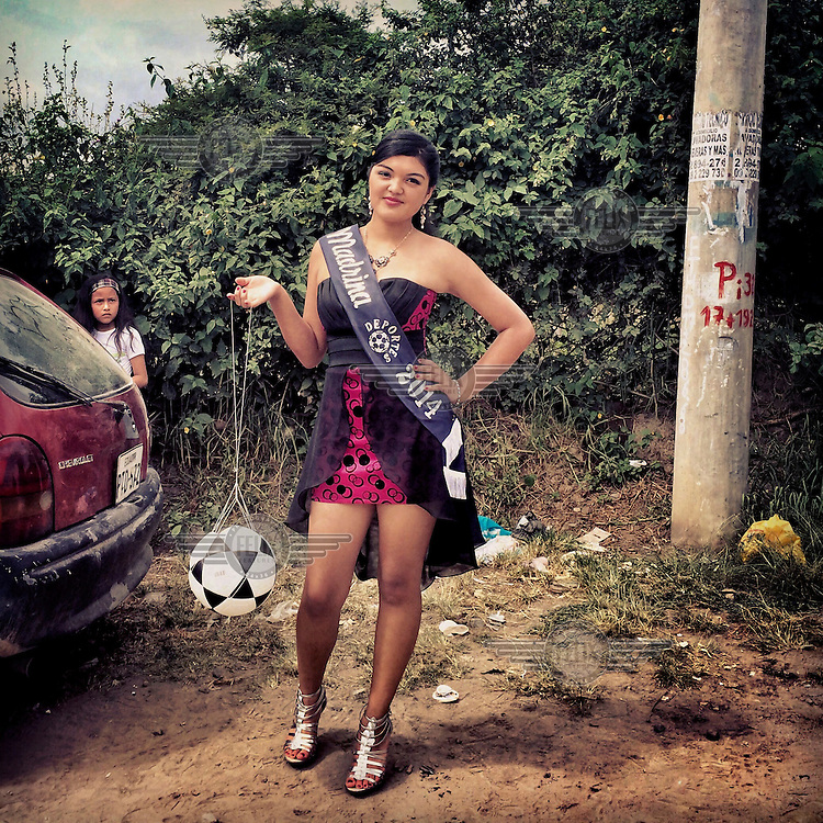 Majo Quinatoa, The Queen of Soccer in Rumihuaico. Quinatoa represents the Cruzeiros club for the opening day of the barrio league.