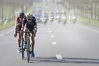 Jens Keukeleire (BEL/Orica-Scott) &amp; Greg Van Avermaet (BEL/BMC) jump away from their competitors and force the final/decisive move that way<br /> <br /> 79th Gent-Wevelgem 2017 (1.UWT)<br /> 1day race: Deinze &rsaquo; Wevelgem - BEL (249km)