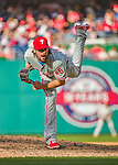 23 May 2015: Philadelphia Phillies starting pitcher Cole Hamels on the mound against the Washington Nationals at Nationals Park in Washington, DC. Hamels notched his 5th win of the season as the Phillies defeated the Nationals 8-1 in the second game of their 3-game weekend series. Mandatory Credit: Ed Wolfstein Photo *** RAW (NEF) Image File Available ***