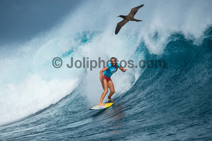 Namotu Island Resort, Namotu, Fiji. (Tuesday May 27, 2014) Ella Williams (NZL) –  The Fiji Women's Pro, Stop No. 5 of 10 on the 2014  Women's World Championship Tour (WCT) was called on today  at Cloudbreak in a ring 4'-6' south swell.  The South East Trades, which are side offshore at Cloudbreak increased with the growing swell and made conditions difficult by mid afternoon. All of Rounds 1 & 2 were completed with Malia Manual (HAW) registering the day's highest score with powerful forehand surfing. The event has attracted the world's best female surfers to the world-class waves of Cloudbreak and Restaurants for the recommencement of this season's battle for the world surfing crown. Photo: joliphotos.com