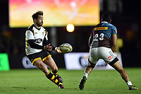 Danny Cipriani of Wasps passes the ball. Aviva Premiership match, between Harlequins and Wasps on April 28, 2017 at the Twickenham Stoop in London, England. Photo by: Patrick Khachfe / JMP
