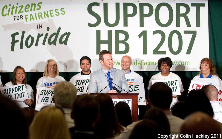 TALLAHASSEE, FLA. 4/5/11-CFFF040511 CH-Rep. John Tobia, R-Melbourne, center, speaks during the Citizens For Fairness In Florida Rally, Tuesday in Tallahassee. The group travelled to the Capitol to show their support for House Bill 1207 that closes a loophole in Florida's tobacco payment system..COLIN HACKLEY PHOTO