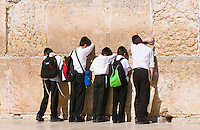 September 2008 Jerusalem Israel - Young orthodox jewish in The western wall  , Important Jewish religious site located in the Old City of Jerusalem