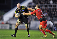 Matt Garvey of Bath Rugby looks to get past Levan Chilachava of Toulon. European Rugby Champions Cup match, between RC Toulon and Bath Rugby on January 10, 2016 at the Stade Mayol in Toulon, France. Photo by: Patrick Khachfe / Onside Images