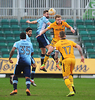 Blackpool's Clark Robertson vies for possession with Newport County's Alex Samuel<br /> <br /> Photographer Kevin Barnes/CameraSport<br /> <br /> The EFL Sky Bet League Two - Saturday 18th March 2017 - Newport County v Blackpool - Rodney Parade - Newport<br /> <br /> World Copyright &copy; 2017 CameraSport. All rights reserved. 43 Linden Ave. Countesthorpe. Leicester. England. LE8 5PG - Tel: +44 (0) 116 277 4147 - admin@camerasport.com - www.camerasport.com