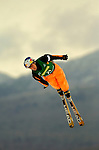 16 January 2005 - Lake Placid, New York, USA - Evelyne Leu representing Switzerland, competes in the FIS World Cup Ladies' Aerial acrobatic competition, ranking 23rd for the day at the MacKenzie-Intervale Ski Jumping Complex, in Lake Placid, NY. ..Mandatory Credit: Ed Wolfstein Photo.