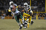 PITTSBURGH, PA - JANUARY 23: Jerricho Cotchery #89 of the New York Jets runs with the ball after a reception against the Pittsburgh Steelers in the AFC Championship Playoff Game at Heinz Field on January 23, 2011 in Pittsburgh, Pennsylvania(Photo by: Rob Tringali) *** Local Caption *** Jerricho Cotchery