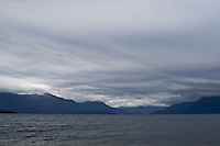 Stormy sky over lake Te Anau, New Zealand