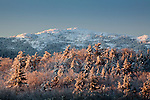 Mount Monadnock covered with snow at sunrise, Dublin, NH, USA