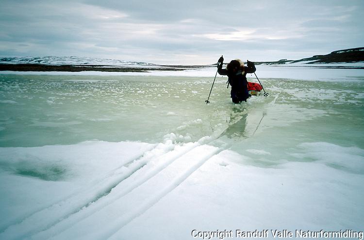 Mann med ski og pulk krysser åpen elv med sørpe. ---- Man with sled crossing open river.