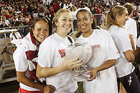 STANFORD, CA - OCTOBER 24:  Nora Soza, JJ Hones, and Rosalyn Gold-Onwude with the Director's Cup during Stanford's 33-14 win over ASU on October 24, 2009 at Stanford Stadium in Stanford, California.