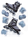 Inline skates, rollerblades and protective gear accessories, artistic dynamic still life isolated on white background