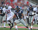 Ole Miss quarterback Randall Mackey (1) runs vs. Alabama at Vaught-Hemingway Stadium in Oxford, Miss. on Saturday, October 14, 2011. Alabama won 52-7.