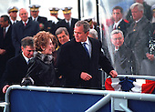 United States President George W. Bush talks with former First Lady Nancy Reagan at the Christening Ceremony for the U.S.S. Ronald Reagan at Newport News Shipbuilding, Newport News, Virginia on Sunday, March 4, 2001.<br /> Mandatory Credit: Eric Draper - White House via CNP
