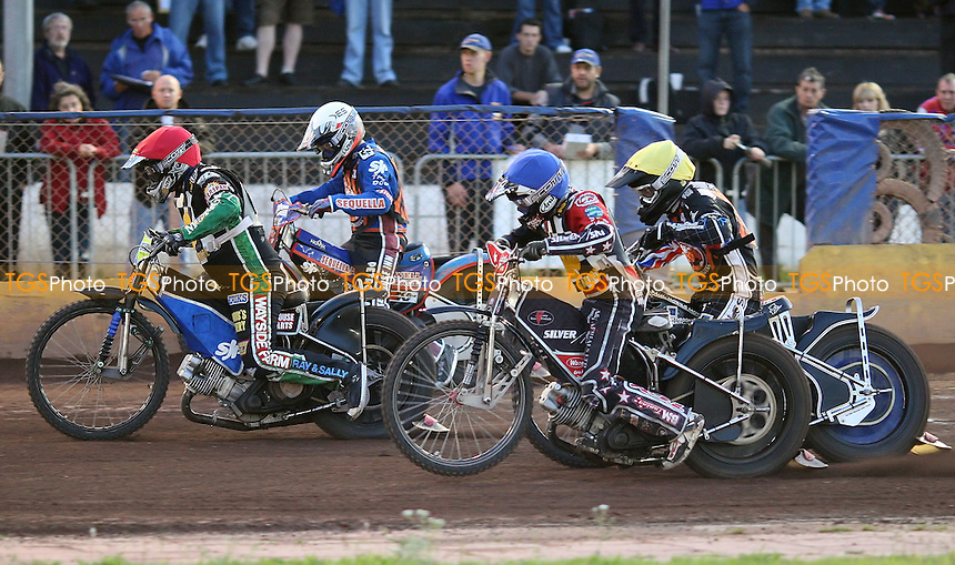 Heat 10: Barrie Evans (red), Ben Morley (blue), Joe Jacobs (white) and Lewis Blackbird (yellow) - Hackney Hawks vs Mildenhall Fen Tigers, National League Speedway at Hoddesdon, Rye House - 30/04/11 - MANDATORY CREDIT: Rob Newell/TGSPHOTO - Self billing applies where appropriate - 0845 094 6026 - contact@tgsphoto.co.uk - NO UNPAID USE.