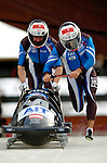 19 November 2005: Juergen Loaker pilots the Austria 2 sled to a 5th place finish at the 2005 FIBT AIT World Cup Men's 2-Man Bobsleigh Tour at the Verizon Sports Complex, in Lake Placid, NY. Mandatory Photo Credit: Ed Wolfstein.