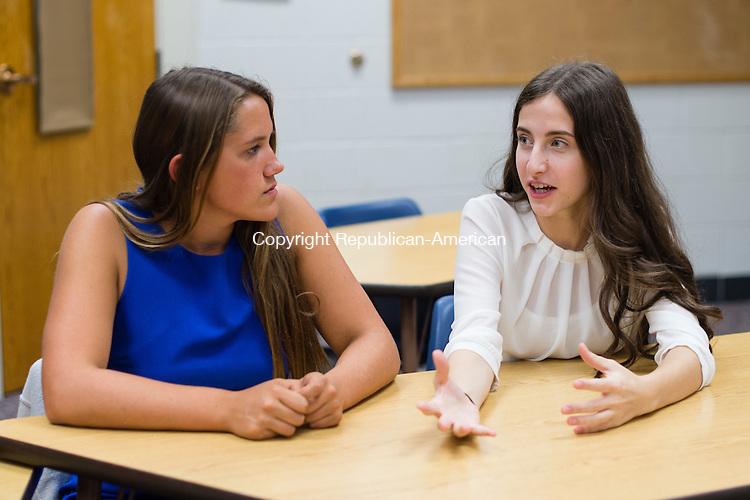 WASHINGTON, CT- 28 October 2015-102815EC04-  Bianca Getzel talks as Haley Pesci listens during Teen Table at Shepaug Valley High School in Washington. Erin Covey Republican-American
