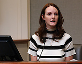 Katrina Hannum, daughter of sniper victim Linda Franklin, testifies during in the trial of sniper suspect John Allen Muhammad in courtroom 10 at the Virginia Beach Circuit Court in Virginia Beach, Virginia on October 30, 2003. <br /> Credit: Adrin Snider - Pool via CNP