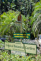 The entrance to the Hawai'i Tropical Botanical Garden in Onomea, north of Hilo, on the Big Island of Hawaiʻi.