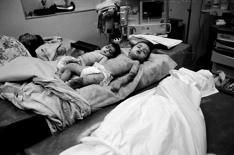 Tripoli, June 19, 2011.A NATO air strike destroyed 3 civilian houses in the Souk Al Jouma area of Tripoli at 1.10AM. At least 5 civilians were killed and several other wounded. Among the dead is the entire al-Ghrari family: Khaled the father, Karima the mother as well as Ali, 2 yrs old and Jhoumana 9 months.