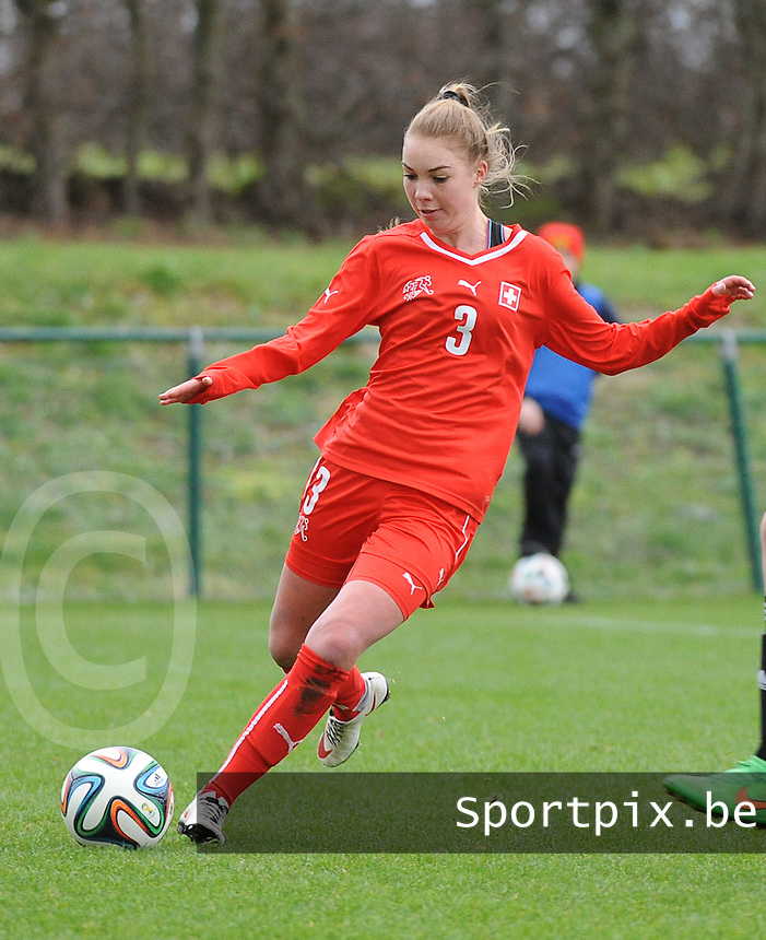 20160211 - TUBIZE , BELGIUM : Switzerland's Jana Geissbühler pictured during the friendly female soccer match between Women under 17 teams of  Belgium and Switzerland , in Tubize , Belgium . Thursday 11th February 2016 . PHOTO SPORTPIX.BE DIRK VUYLSTEKE